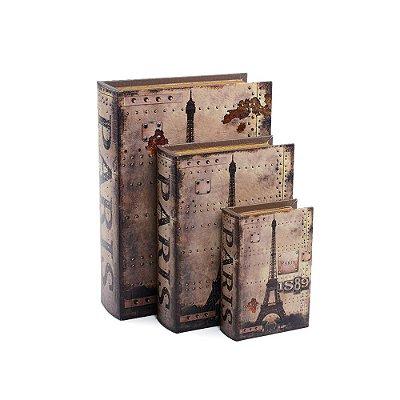 Conjunto 3 Livros Caixa Decorativos Paris 1889
