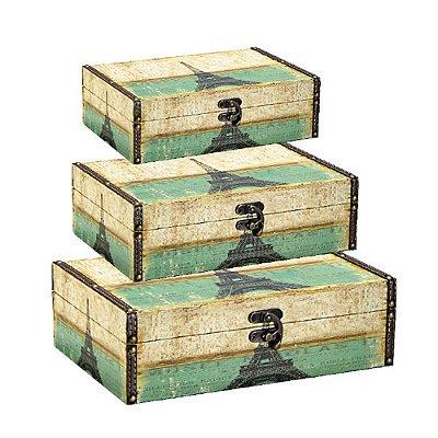 Conjunto 3 Caixas com Fecho Paris em Pátina