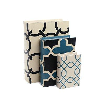 Conjunto 3 Livros Caixa Decorativos Geométrico Navy