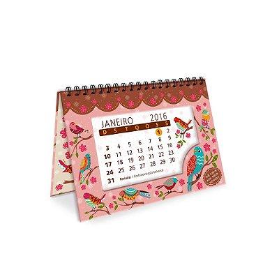Calendário de Mesa Decorado Passarinhos Silvestres 2016