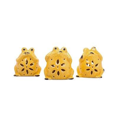 Sapinhos Cerâmica Cego Surdo Mudo Amarelos