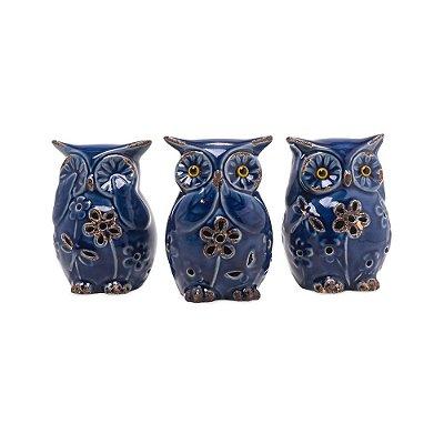 Corujas em Cerâmica Cega Surda Muda Azul