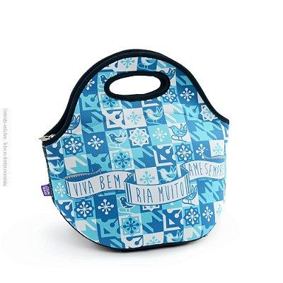 Lancheira Neoprene Viva Bem Azul