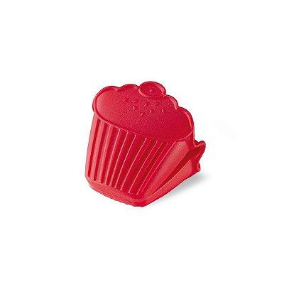 Pegador em Silicone Cupcake Vermelho