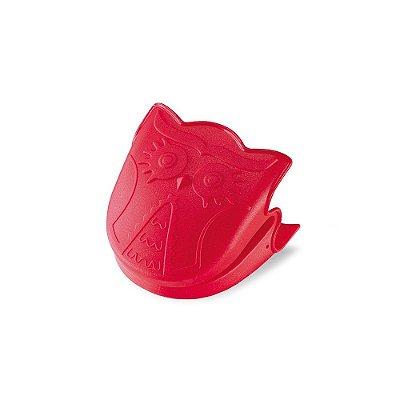 Pegador em Silicone Corujinha Vermelho