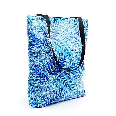 Bolsa Sacola Estampada Folhas Azuis