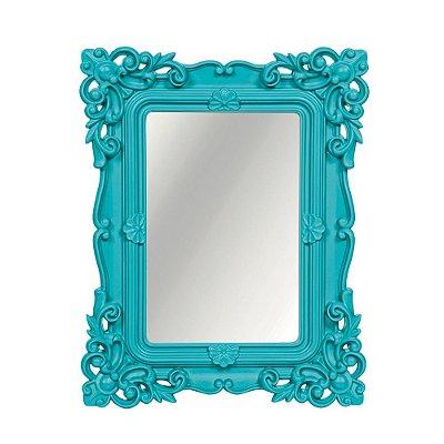 Espelho Decorativo Rococó Turquesa 20x25