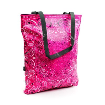 Bolsa Sacola Estampada Paisley Rosa