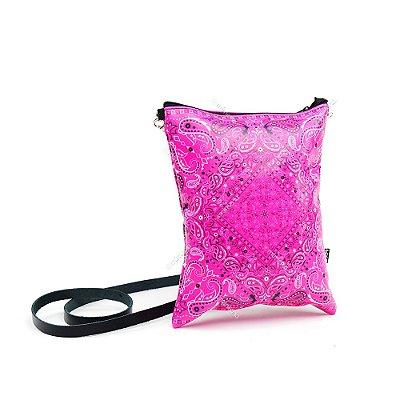 Bolsa Tiracolo Estampada Paisley Rosa
