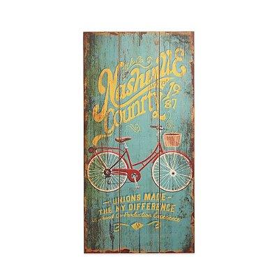 Placa Decorativa de Madeira Bicicleta Azul 48x24