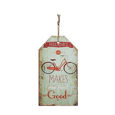 Placa Decorativa de Madeira Bicicleta Gelo 27x15
