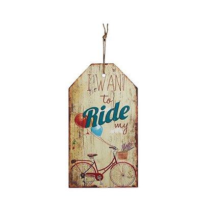 Placa Decorativa de Madeira Bicicleta Bege 27x15
