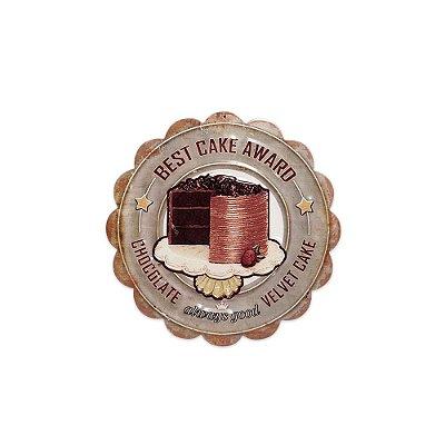 Placa Decorativa de Metal Redonda Best Cake