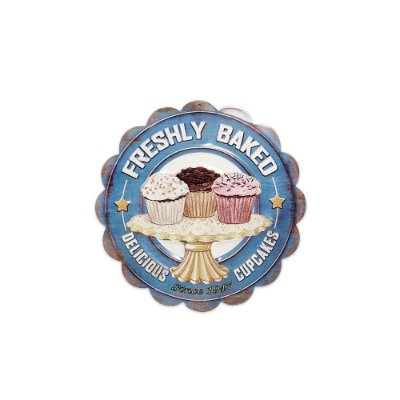 Placa Decorativa de Metal Redonda Cupcakes