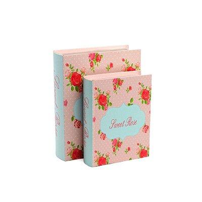 Conjunto 2 Livros Caixa Decorativos Sweet Rose