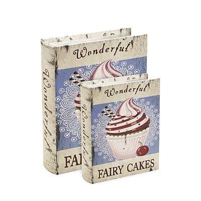 Conjunto 2 Livros Caixa Decorativos Cupcake Roxo Envelhecido