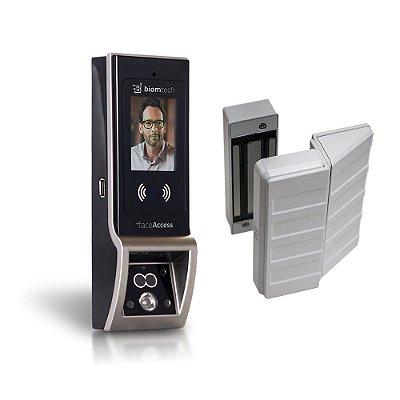 Fechadura Biométrica faceAccess com eletroímã para porta de vidro de correr