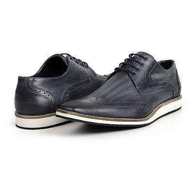 bd8711ab9c Sapato Casual Masculino Estilo Oxford Estonado em Couro Legítimo Cor  Marinho zoom