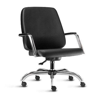 Cadeira maxxer em couro ecológico cromada com braço
