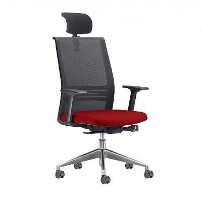 cadeira presidente agile cromada com apoio de cabeça