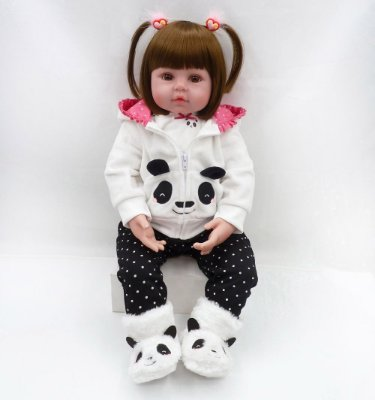 Boneca Bebe Reborn Panda Corpo de Pano Promoção