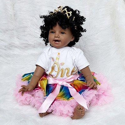 Boneca Bebe Reborn Negra em Silicone