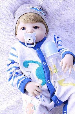 Boneca Bebe Reborn Lorenzo Todo em Silicone Super Oferta