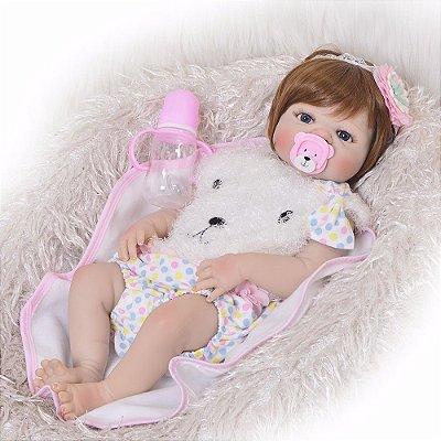 Boneca Bebe Reborn Ruivinha Toda em Silicone Super Oferta