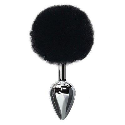 Plug anal com pompom preto tamanho P