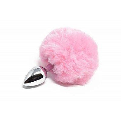 Plug anal tamanho M com pompom rosa