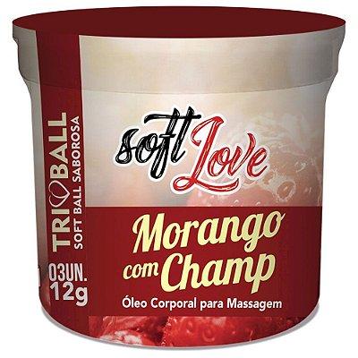 Bolinha Funcional Soft Love Aroma Morango com Champanhe - 3 Unidades