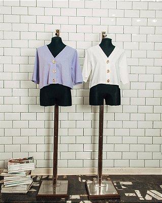blusa linho decote V  branca