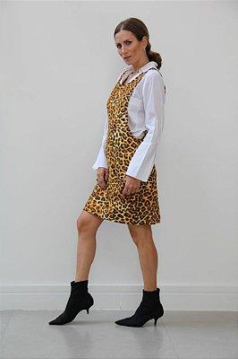Vestido curto salopete onça