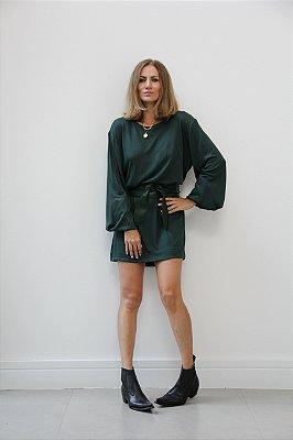 Vestido malha de tricot com elástico na manga