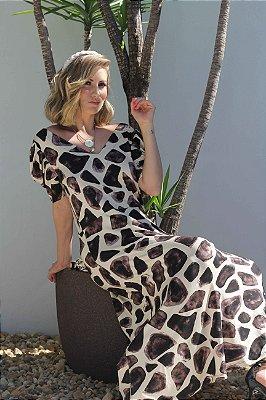 Vestido decote V midi com manga bufante