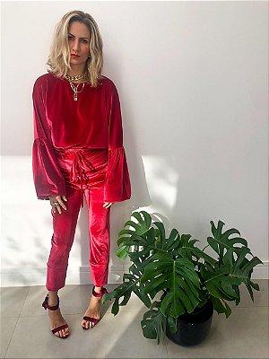Blusa Veludo Vermelha Ampla