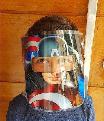 Mascarinhos - Mascara Protetora Facial Infantil- CAPITÃO AMERICA - Face Shield