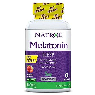 Melatonina Natrol 5mg Ultra Rápida Fast Dissolve Morango Importada 150 Comprimidos Para 5 Meses