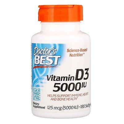 Vitamina D3 5000ui Doctor's Best 180 Cápsulas Gelatinosas Importada Para 6 Meses
