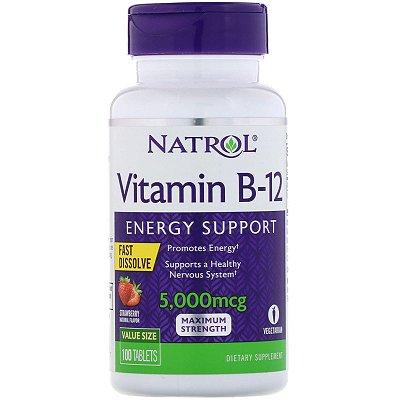 Vitamina B12 5000mcg Fast Dissolve Morango Efeito Mais Rápido Melhor do Mercado Natrol Importada 100 Tablets