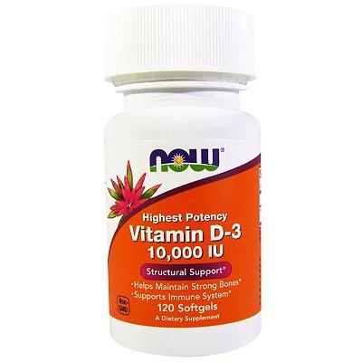 Vitamina D3 10.000ui Alta Potência Now Foods 120 Cápsulas Gelatinosas Importada Para 4 Meses