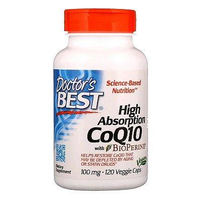 Coenzima Q10 100mg Doctor's Best Alta Absorção Com BioPerine Importada 120 Caps Para 4 Meses