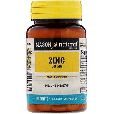 Zinco 50mg Importado Original Mason Natural 100 Comprimidos Pote Para 3 Meses
