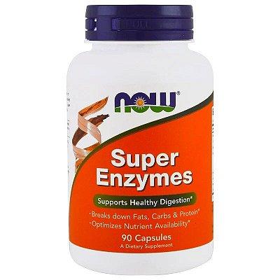 Super Enzymes Now Foods Enzimas Digestívas Quebra Gorduras Carboidratos e Proteínas Importado 90 Cápsulas Para 3 Meses