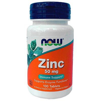 Zinco 50mg Importado Original Now Foods Imunidade Antioxidante Testosterona 100 Comprimidos Para 3 Meses De Uso