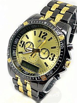59ddb4084 Relógio Dourado Militar Potenzia Barato Metal Top Promoção !