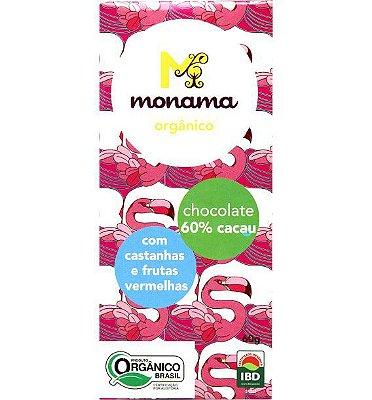 Chocolate 60% Cacau com Castanhas e Frutas Vermelhas Monana - 60g