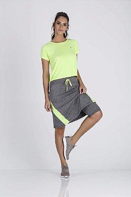 Saia Shorts Moda Fitness Evangélica Epulari Mescla Detalhe Amarelo