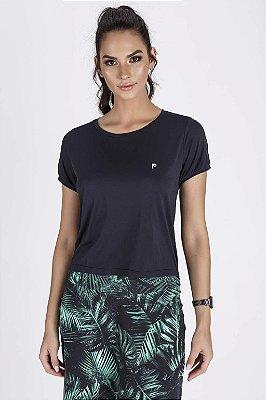 T-Shirt Fitness Feminina Preta Cropped UltraCool Fit Epulari