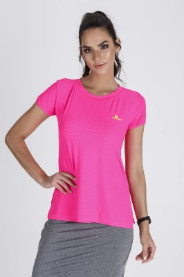 T-Shirt Fitness Feminina Abertura Lateral Rosa Neon Epulari
